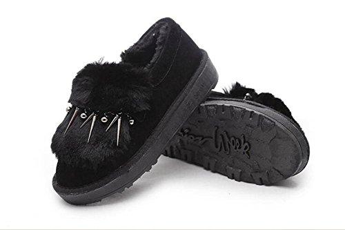 ZZHH Slip Duantong épaisse bottes de neige en peluche mat chaussures plates Black