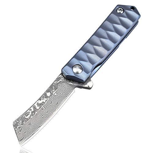 AUBEY Damaststahl Taschenmesser Japan, Titan Griff Damast Klappmesser Klein, Mini Messer Damastmesser Outdoor, 4 cm Tanto Damastklinge (Blau)