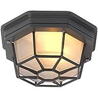 QAZQA Rústico Plafón BRI gris oscuro Aluminio / Vidrio / Redonda Adecuado para LED E27 Max. 1 x 60 Watt