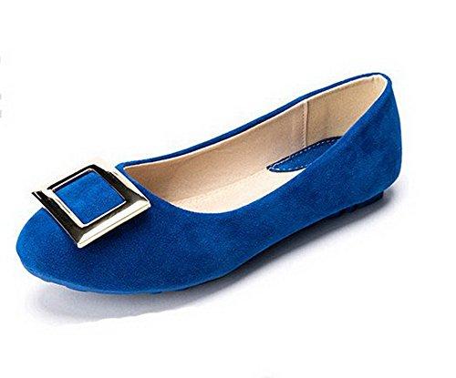 AalarDom Femme Non Talon Tire Dépolissement Rond Chaussures Légeres Bleu-Boucle