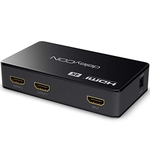 deleyCON 4k UHD HDMI Splitter / Verteiler 2 Port - 2160p 4k Ultra HD / FULL HD 3D / 2x HDMI OUT - HDCP DTS Deep Color – HDMI Verteiler 1x2 [Schwarz]