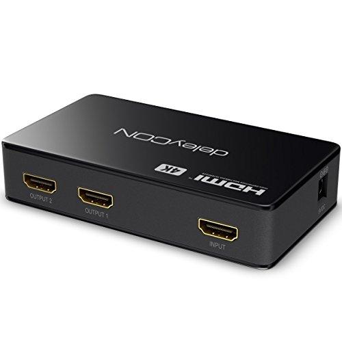 deleyCON 4K UHD HDMI Splitter Verteiler 2 Port - 2160p 4K Ultra HD Full HD 3D - 2X HDMI Out - HDCP DTS Deep Color - HDMI Verteiler 1x2 - Schwarz