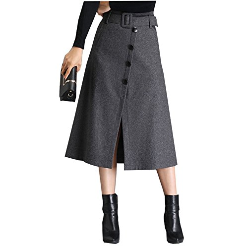 Länge Rock Pudel Knie (QincLing Damen High Taille Gürtel Wolle A-Linie Rock Winter Split Midi)