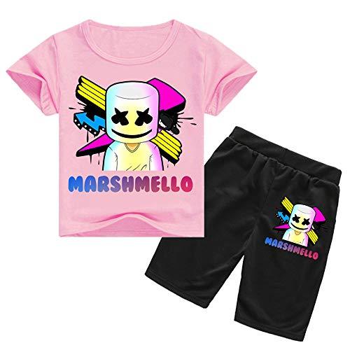 e24590c8b QYS Enfants DJ Smiley Face Print Shirt + Shorts Chothing Set,Pink,130cm