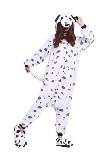 YUWELL Kigurumi Jumpsuit Tier Cartoon Fasching Cosplay Kostüm Sleepsuit Pyjama Schlafanzug Erwachsene Unisex, Beschmutzter Hund L (Height:170-180cm) (Miss Match Kostüm)