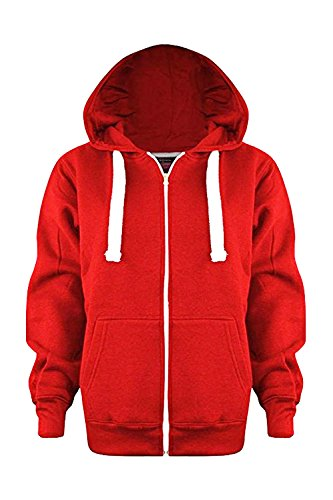 Vanilla Inc® Boys Girls Junior New Zip Top PLAIN Fleece Hooded Sports HOODIE Football Boxing Martial Art Activewear Fitness Jacket School Holidays Outwear Coat 3-13 Yr (Age 3-4 Years, Red)