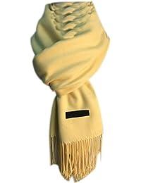 4cc3d3fa0d26 Echarpe Femme Foulard Longue Chaud Gros Imitation Cachemire Écharpe Élégant  Tendance Couleur Pure Echarpe Avec Glands