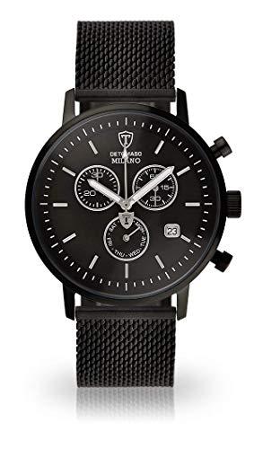 Detomaso MILANO–Reloj de pulsera para hombre con caja de acero inoxidable negro y esfera negra. Reloj De Hombre Cuarzo elegante con Negra Milanaise de pulsera