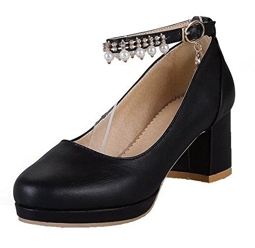 Voguezone009 Boucle Pour Femmes Bout Rond Talon Moyen Shimmer Ballerines Noir Pur