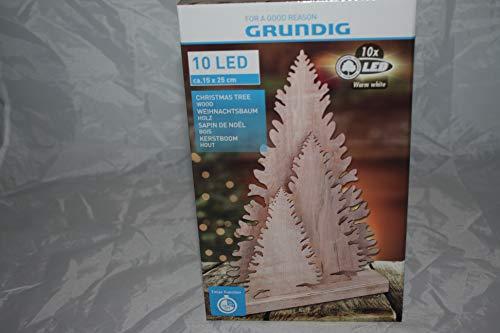 OnDaS Weihnachtsbaum Tannenbaum aus geschnitzten Holz Weihnachtsdeko Licht Deko klein 15cm x 25cm