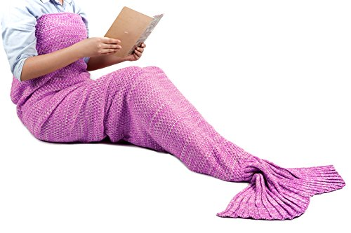 (Weihnachts Geschenk)Meerjungfrau Decke Schlafsack Handgemachte häkeln Meerjungfrau Schwanz Decke Flosse Gestrickte Kuscheldecke Mermaid Blanket Kostüm für Erwachsene Damen und Kinder 180cmX90cm(Fuchsie)