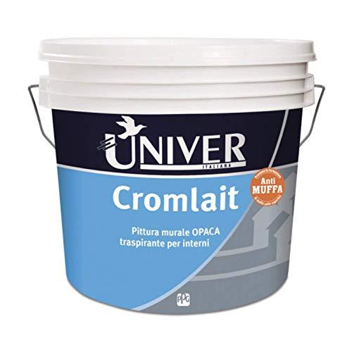 Univer Cromlait pittura vinilica antimuffa opaca per interni traspirante Bianco, Lt 14