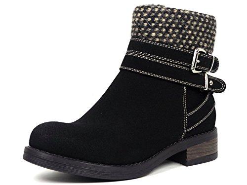 Senhoras Ankle Boot De Camurça Óptica Quente Revestimento 164-pa Preto