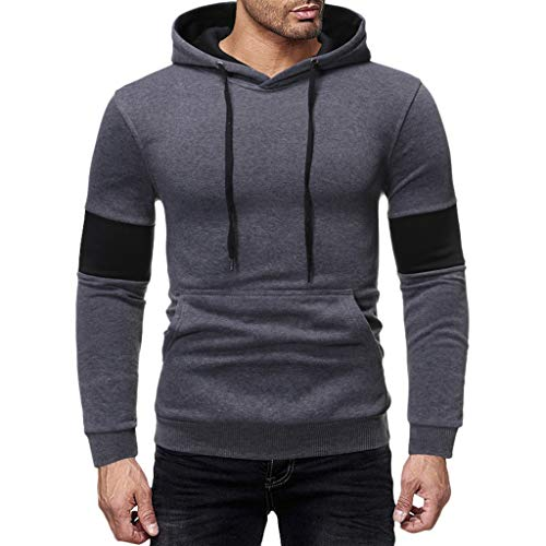 Mens Slim Fit Long Sleeve Lightweight Hoodie with Kanga Pocket ◆Elecenty◆ Sports Outwear Sweatshirts Hooded Pullover Sportbekleidung Drawstring Tops (Pullover Hooded Lightweight)