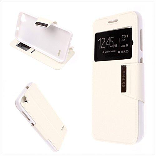 Misemiya - Coque Étui pour ZTE Blade S6 Flex - Cover-View avec Support - Étui, Blanc