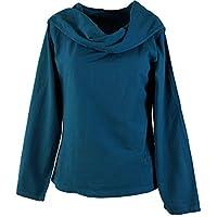 GURU-SHOP, Hoody Boho Chic, Long Sleeve Shirt with Shawl Collar, Pertol, Cotton, Size:S (10), Jumper, Longsleeves & Swearshirts