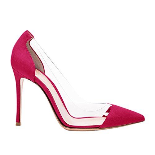 Damen Pumps Sandalen Spitze Zehen Durchsichtig High-Heels Stiletto Samt Rosa