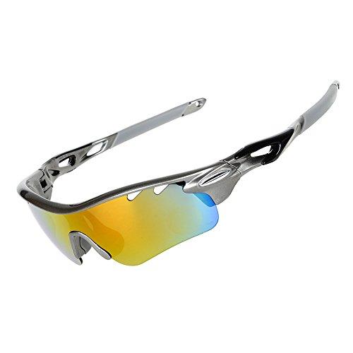 Valorcielo, occhiali da sole sportivi polarizzati, occhiali protettivi con 5lenti intercambiabili, protezione uv 400, per ciclismo, camping, guida, pesca, corsa, golf, attività all'aperto, unisex, grey