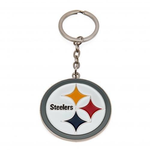 Pittsburgh Steelers; mit Wappen Schlüsselanhänger aus Metall, Durchmesser: ca. 45 mm x 45 mm, mit Kopfzeile Karten Offizielles Fußball-Merchandising-Produkt