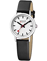 Mondaine Women's Classic 30 mm Watch with Stainless Steel polished Case white Dial and black leather strap Strap A658.30323.11SBO