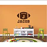 Lvabc Personalized Football Name Removable Wall Stickers for Nursery Kids Boys Bedroom Playroom Vinyl Decals Living Room 56X67Cm