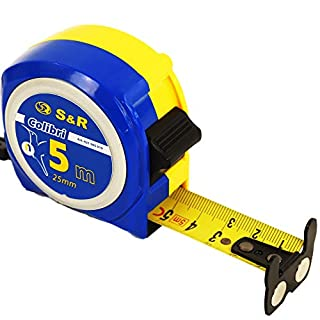 S&R Tape measure 5,0 m x 19 mm, nylon-polymer coated double side printed tape, lock and auto return, magnetic hook, COLIBRI series, professional measuring