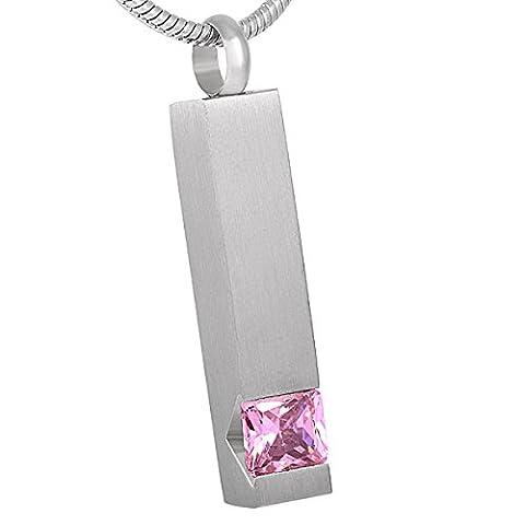 Casket Etcetera Halskette mit Ascheanhänger, rechteckig mit rosa Schmuckstein