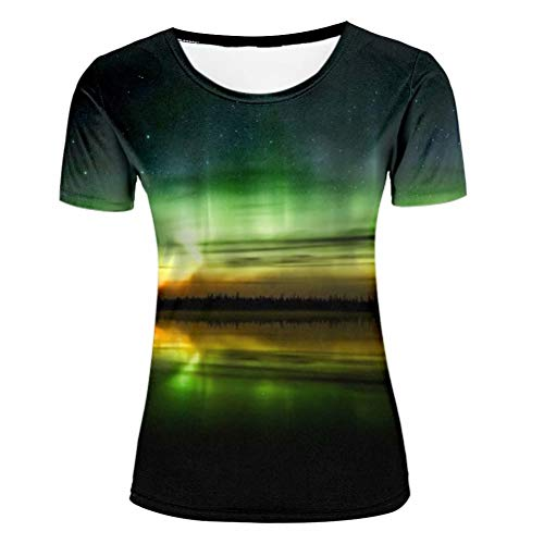 Frauen Round Neck Strass (Women's Casual 3D Printed T-Shirt Natural Scenery Aurora Green Cool Graphic Polyester Short Sleeve Tops M)