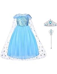 URAQT Robes Fille, Robe Enfant de Princesse, avec Cosplay, Robe de Soirée/Robes de Cocktail/Robes de Plage pour Enfant