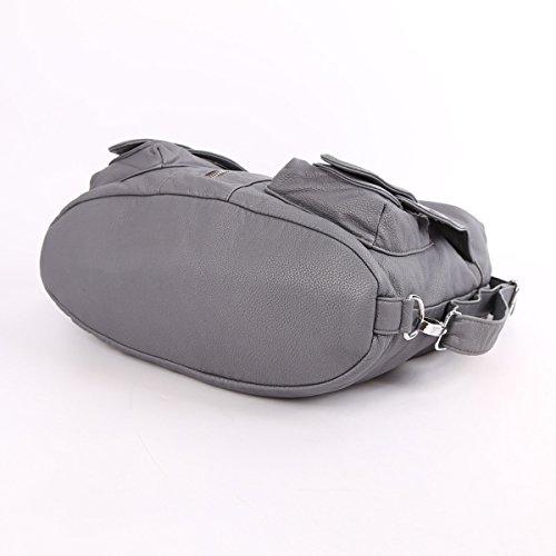 Angelkiss 2 Top Cerniere multi tasche Borse Lavato borse in pelle borse a spalla zaino W6802 Grigio