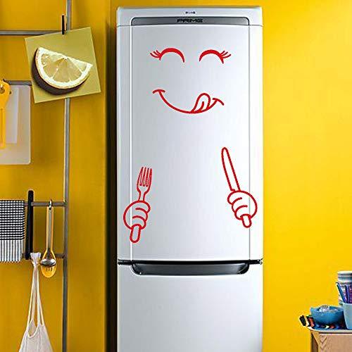 Mitlfuny Black Friay DE Cyber Monday DE,Cute Sticker Fridge Happy Delicious Face Kitchen Fridge Wall Stickers ()