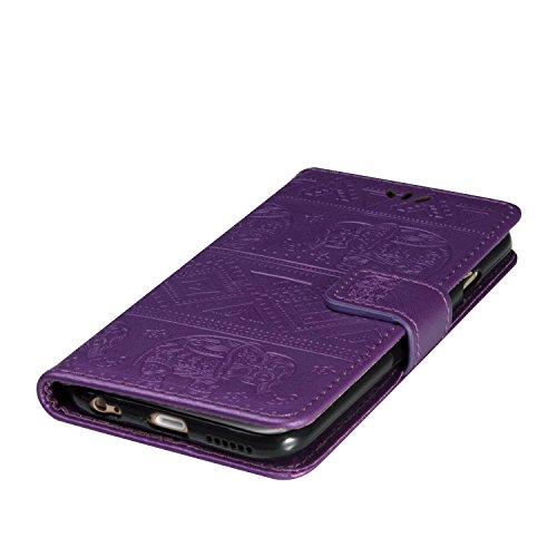 Custodia iPhone 6 - Cover iPhone 6S - ISAKEN Accessories Cover in PU Pelle Portafoglio Tinta Unita Custodia, Elegante Embossed Rose Pattern Design in Sintetica Ecopelle Libro Bookstyle Wallet Flip Por Elefante: violet