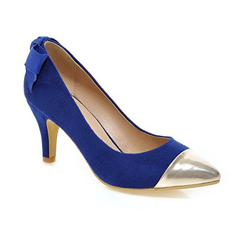 AllhqFashion Femme Tire à Talon Haut Matière Mélangee Couleurs Mélangées Pointu Chaussures Légeres Bleu