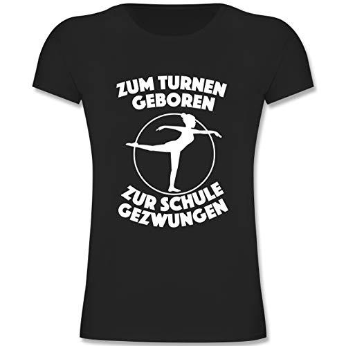 Sport Kind - Zum Turnen geboren Zur Schule gezwungen - 164 (14-15 Jahre) - Schwarz - F131K - Mädchen Kinder T-Shirt