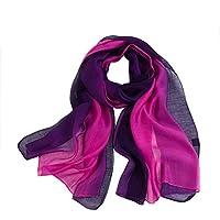 BNMY Bufanda De Seda 100% Gradiente De Color, Elegante Y Elegante Mantón Verano Invierno 190 X 80 Cm,Purple