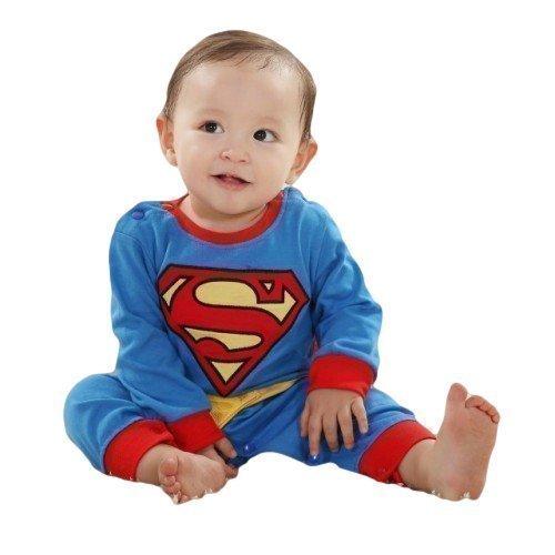 Jungen Mädchen Super Baby Superheld Einteiler BABYGROW Schlafanzug Verkleidung Kostüm Kleidung Weihnachtsgeschenk - Blau, 12-18 months (90cms) (Superman Kostüm Für Kleinkinder)
