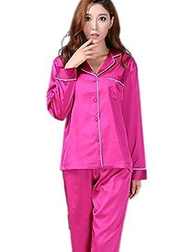 CHUNHUA La signora seta imitazione grandi cantieri manica lunga pigiama di seta pezzo tuta (colore facoltativo...