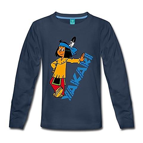 Yakari Amérindien Et Logo T-shirt manches longues Premium Enfant de Spreadshirt®, 122/128 (6 ans), bleu