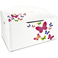 Preisvergleich für Leomark Groß Holz Kindertruhenbank XL Kinderbank Truhenbank Motiv: Schmetterlinge. Behälter für Spielzeug, Sitzbank mit Stauraum für Spielsachen