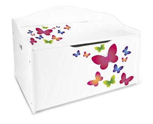 Coffre XL à Jouets En Bois Motif: Papillons Colores Récipient Pour Les...