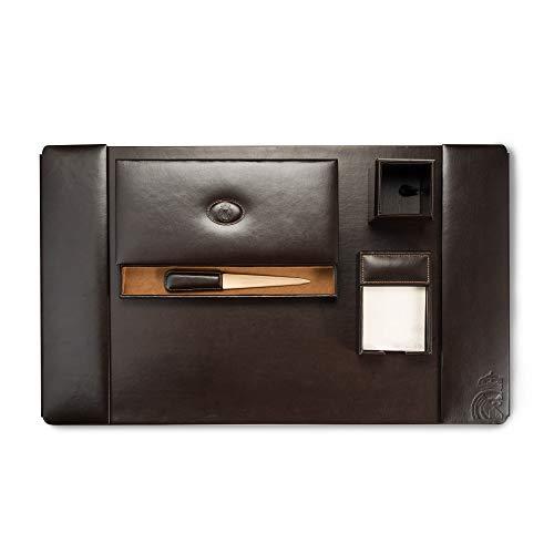 Real Madrid - 5-teiliges Schreibtisch-Set, Premium Qualität: in Braun Farbe Leder. RMJ-80016B -