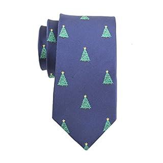 ACVIP Men's Jacquard Weave Christmas Necktie (Blue Christmas Tree)