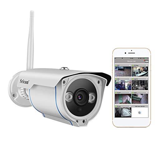 Sricam Cámara IP de Vigilancia Wifi 720P (IP66, IR-Cut, Visión Nocturna, H. 264, Detección de Movimiento, CCTV ONVIF ), Camara Seguridad Exterior y Interior, Compatible con iOS y Android