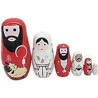 ULTNICE 6 Stück Babuschka Verschachtelung Matroschka Holz Russian Nesting Dolls Kinder Spielzeug Geschenk Jesus