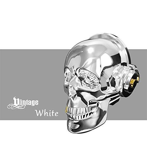 LIUMSJ Mini Outdoor Lautsprecher Schädel Kopf Lautsprecher Blenden LED Feuer Tragbare Bluetooth Bass Stereo Für Halloween Einzigartiges Design (Color : White)