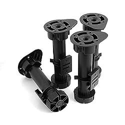 Design61 4er Set Sockelfuss Möbelfuss Stellfuss Verstellbar inkl. Sockelbefestigungsclips für Sockelleiste 150mm - 180mm