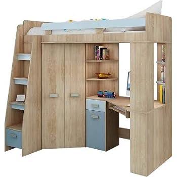 newjoy kinder jugendzimmer komplett hochbett schreibtisch 2 x schr nken k che. Black Bedroom Furniture Sets. Home Design Ideas