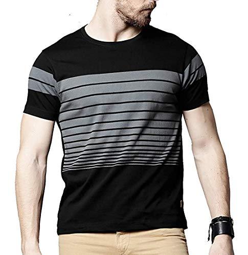 STYLENTO Men's Cotton Half Sleeve Round Neck Solid T-shirt (Black, Large)