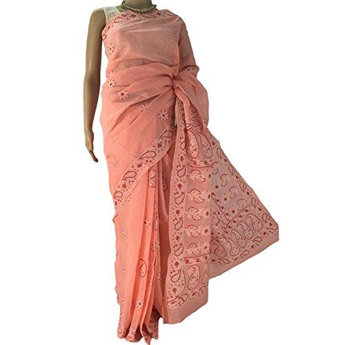 R'ZU Peach Cotton Lucknowi Chikankari Saree