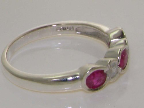 Solid 9ct White Gold Ladies Ruby & Diamond Band Ring